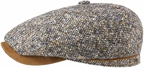 Stetson Brooklin Virgin Wool Cap voor heren balloncap flatcap schuifmuts met scherm voering herfst winter