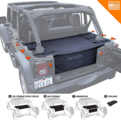 (GPCA Cargo Cover PRO and Cargo Organizer Freedom Pack for TOP ON/Topless Jeep Wrangler JKU 4DR Freedom Pack, for Jeep Wrangler Sports/Sahara/Freedom/Rubicon 2007-2018 Models)