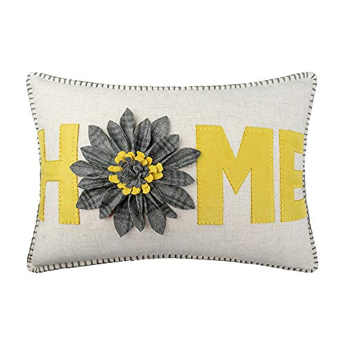 JWH 3D Sunflower Accent Pillow Case Wool Handmade Cushion Cover Decorative Stereo Pillowcase Home Bed Living Room Office Chair Couch Decor Gift 14 x 20 Inch Linen Yellow Gray Plaid (And Gray Yellow Pillows)