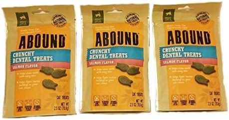 Abound Crunchy Dental Treats Salmon Flavor 3 2.5 oz Pack Bundle