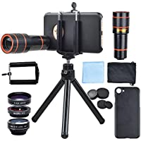 Apexel Optical Phone Camera Lens Kit 12X Manual Focus Telescope Camera Lens and Wide/Fisheye/Macro Lens with for iPhone 6 Plus/6s plus