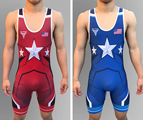 TRI-TITANS American Armor Reversible UWW Wrestling Singlet - Freestyle -Greco Roman -Folkstyle (Youth XL: - Sublimated Custom Wrestling Singlet