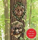 Vineyard Tree Face Spirit Plaque Couples , A Set Of 2 Fun Outdoor Garden Decor