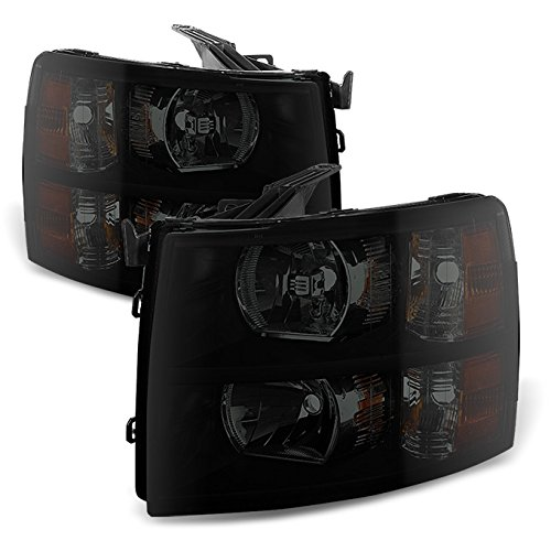 - For Black Smoked 2007-2013 Chevy Silverado 1500 2500HD 3500HD Pickup Truck Headlights Front Lamps Replacement Pair