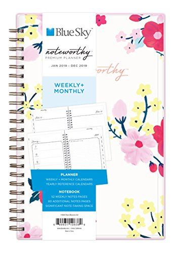 "Blue Sky Noteworthy 2019 Weekly & Monthly Planner and Notebook, Flexible Cover, Twin-Wire Binding, 5"" x 8"", Cherry Blossom"