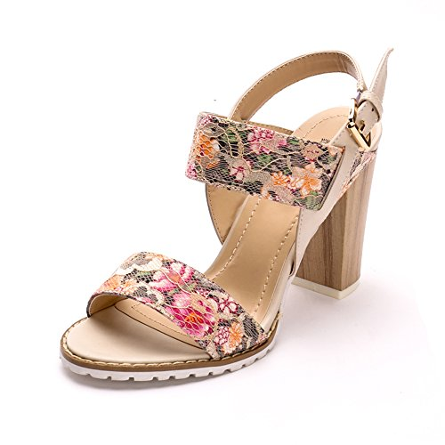 Strappy Chunky Buckled Alexis Dainty Printed Heel Sandals Leroy Flower White c7fg40gFq
