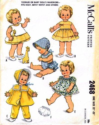 Kissy Betsy Wetsy Baby Dolls Wardrobe 1960s McCall's 2468 Vintage Sewing Pattern