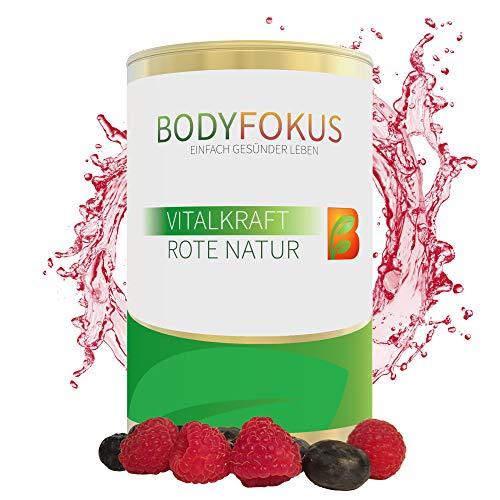 BodyFokus VitalKraft Rote Natur - Rote Kraft | Smoothie Pulver aus Wurzeln & Beeren u.a. mit Cranberry, Graviola, Ginseng, Matcha, Himbeere, Moringa, Ariona, Granatapfel, Maulbeere | 170 Gramm