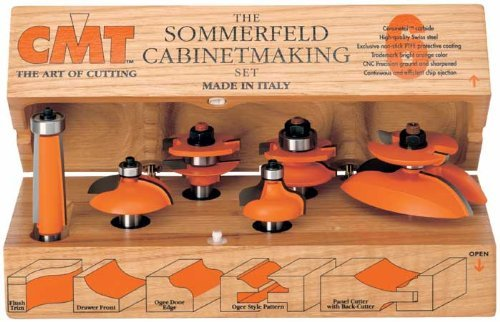 Set Cabinetmaking - CMT 800.515.11 Six Piece Kitchen Cove Cabinetmaking Router Bit Set With 1/2 Shank by CMT