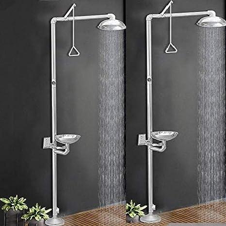 FFHJHJ Sistema de Ducha Grifo de Ducha de Emergencia con lavaojos, Limpiador de Suelo, Ducha de Lluvia, Grifo de Ducha Vertical, Lavado de Ojos