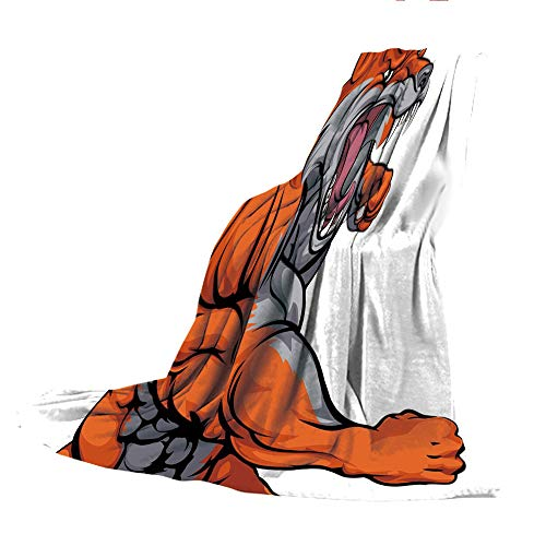 SCOCICI Super-Thick Flannel Warm Sofa or Bed Blanket,Fox,Muscular Fierce Fox Character Fighting Sports Animal Mascot Punching Monster Decorative,Orange Grey White,39.37