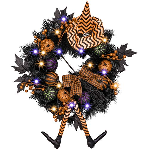 Valery Madelyn Happy Halloween 24 Inch Pre-Lit Halloween Wreath for Front Door with Witch Hat, Halloween Lights and Pumpkin Decorations(Black and ()