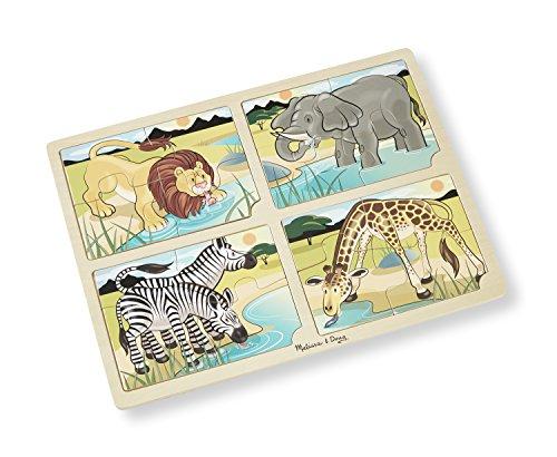 Melissa & Doug Safari Animals 4-in-1 Wooden Jigsaw Puzzle with Storage Tray (16 pcs) - 4 Piece Storage