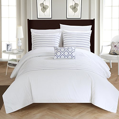 Chic Home 4 Piece Bea Super Soft Microfiber Stitch Embroidered Duvet Cover Set Shams and Decorative Pillow, King, White