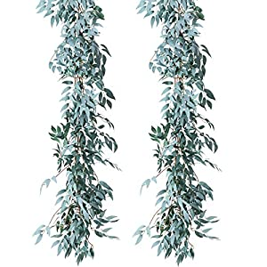 PARTY JOY Artificial Greenery Garland Faux Silk Eucalyptus Vines Wreath Wedding Backdrop Wall Decor Flower Arrangement 17