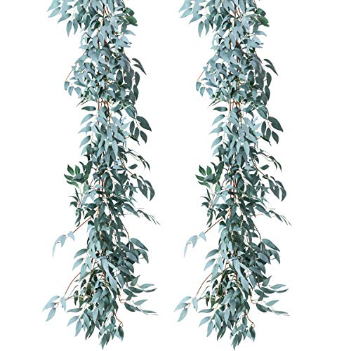 PARTY JOY Artificial Greenery Garland Faux Silk Eucalyptus Vines Wreath Wedding Backdrop Wall Decor Flower Arrangement (Gray Willow Leaves Garland, 2)