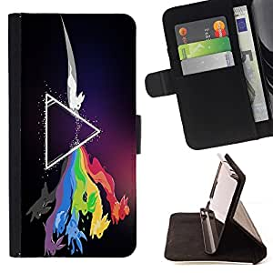 DEVIL CASE - FOR Sony Xperia Z1 L39 - Zeppelin Rabbit Rainbow - Style PU Leather Case Wallet Flip Stand Flap Closure Cover