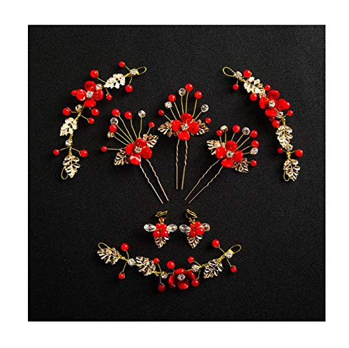 Chinese Style Traditional Bridal Headdress Gold Red Women Jewelry With Earrings Bride Hairpins Wedding Hair Sticks Accessories