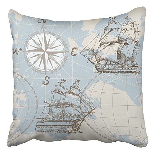 Emvency Throw Pillow Covers Hand Drawn Sea Map Compass Sailing Ship Perfect For Textiles Decor Pillowcases Polyester 20 X 20 Inch Square Hidden Zipper Home Cushion Decorative Pillowcase