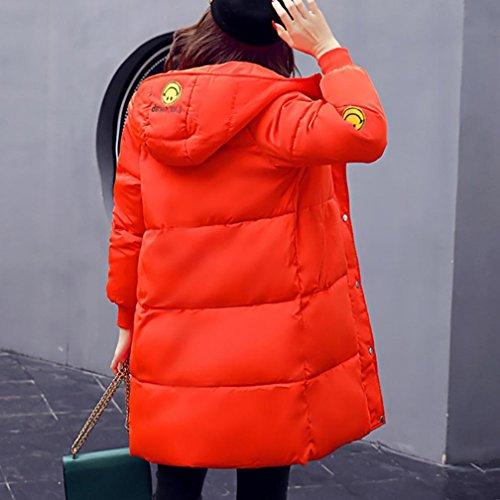 Impresión Sonriente Cara Outwear Largo Abrigo Naranja Engrosamiento Casual Mujeres Slim De Bata Internert Gruesa Chaqueta Ropa Más Algodón Invierno 8wzW0TZx