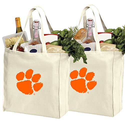 University Clemson Gift - Reusable Clemson University Shopping Bags or Clemson Tigers Grocery Bag 2Pc Set Natural Cotton