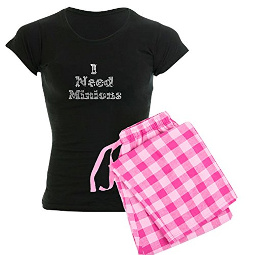 CafePress - Vintage I Need Minions Women's Dark Pajamas - Womens Novelty Cotton Pajama Set, Comfortable PJ (Minions Phrases)