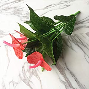 ShineBear 1Bunch Artificial Flower Red Palm Fake Anthurium Bouquet Wedding Arrangement Christmas Home Decoration 67