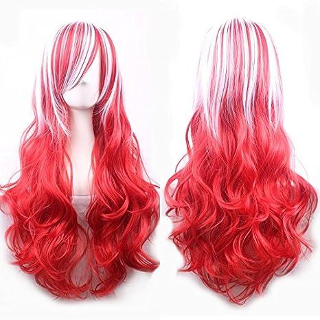 Ladies Mens Wig Disfraz Disfraz Halloween Party Accesorio Rojo Blanco Azul Sirena Rosa Donald Trump Rubio