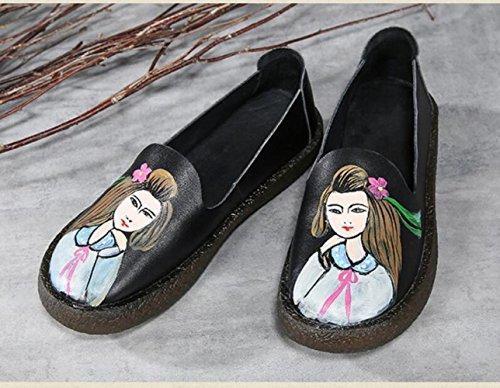 Zfnyy Plat Rond Met De Hand Beschilderde Persoonlijkheid Tij Schoenen Zachte Bodem Comfortabele Schoenen Zwart