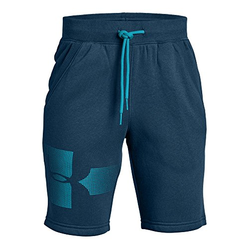 Under Armour Boys Rival Graphic Fleece Short, Techno Teal (489)/Deceit, Youth X-Large
