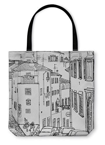 te Hand Bag, Old European Street, 16x16, 820798GN (Medium Alley Shoulder Bag)