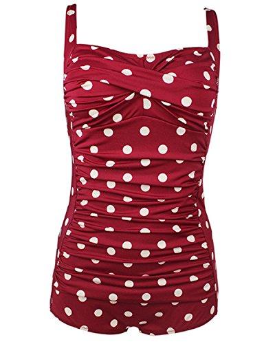 tempt-me-women-one-piece-plus-size-vintage-polka-dot-ruched-boy-shorts-monokini-swimwear-wine-red-xl