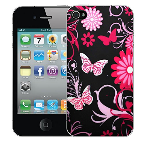 Mobile Case Mate iPhone 4s Silicone Coque couverture case cover Pare-chocs + STYLET - Black Butterfly pattern (SILICON)