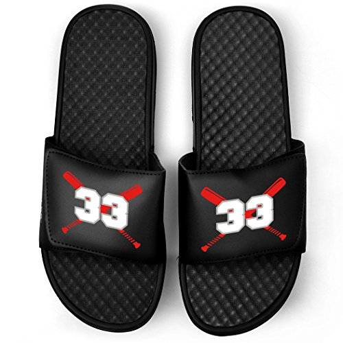 Customized Baseball Black Slide Sandals | Crossed Bats with Numbers | Size M11 | RED (Slides Baseball)