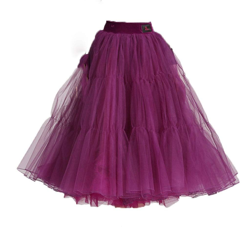 大人の女性のハーフレングスのモダンダンススカート、ふわふわスカート、ビッグスウィングショースカート B07P9XMMM2  パープル L l