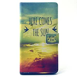 For Sony Xperia T3 Case, FocusUp [Here Comes The Sun] Premium PU Leather [Card Slots] Wallet Flip Magnetic Closure Folio Stand Protective Cover For Xperia T3