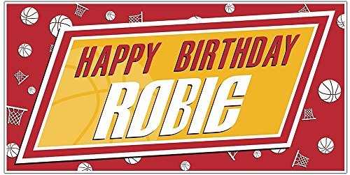 Basketball Party Yellow and Red Background Personalized Custom Birthday Banner ()