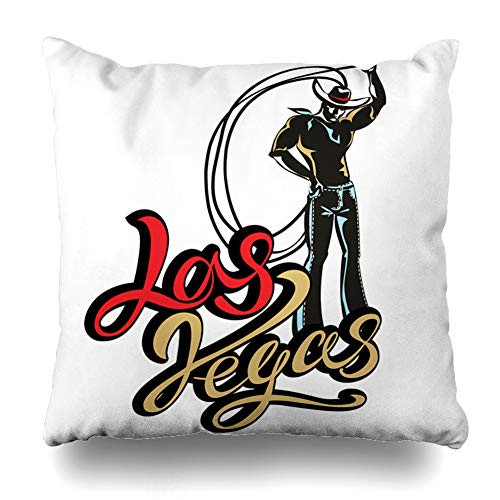 Ahawoso Throw Pillow Cover Square 20x20 West Rodeo Las Vegas Inspiring Lettering Cowboy Star Lasso Western American Billboard Casino Classic Design Home Decor Cushion Case Pillowcase