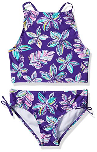 Kanu Surf Toddler Girls' Daisy Beach Sport Halter Tankini 2-Piece Swimsuit, Charlotte Floral Purple, 3T
