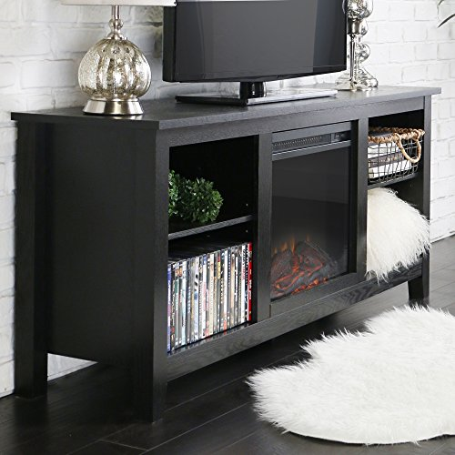 New 58 Inch TV Stand With Fireplace In Black Finish Home