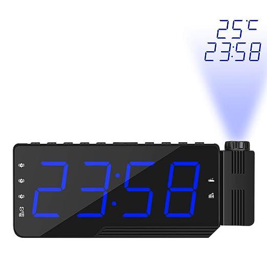 Houkiper El Reloj Multifuncional Grande del proyector del indicador Digital del LED con la Radio de FM Gira el Despertador para el Dormitorio casero (Azul ...