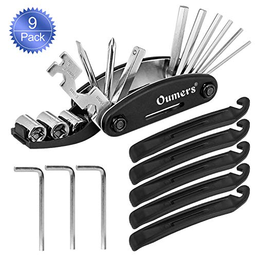 Oumers Bicycle Mechanic Repair Kit Set (Bike Tire Lever, Allen Keys, 16 in 1 Multi-Function Screwdriver Socket Wrench Kit,), Essential Bike Cycling Repair Tool Kit- 9Pack-Durable-Portable ()