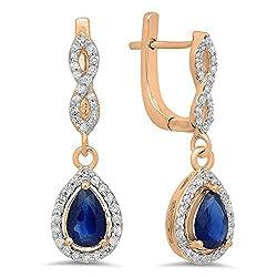 Blue Sapphire Pear Gemstone & Round White Diamond Teardrop Earrings