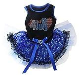 Cheap Petitebella Love 4th of July Black Shirt Blue Sequins Lace Tutu Puppy Dog Dress (XX-large)