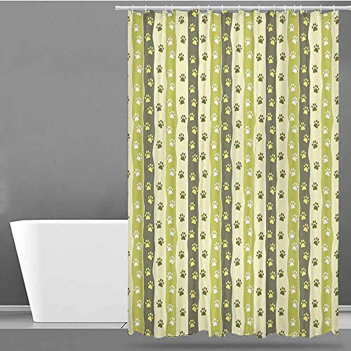 VIVIDX Home Decor Shower Curtain,Dog,Vertical Pattern with Paw Design Foot Print Canine Symbol Walking,Bathroom Decoration,W36x72L Yellow Green Pale Yellow Taupe