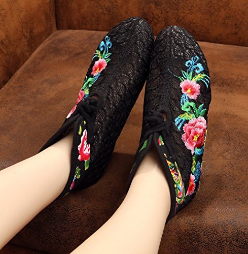 Black ladies round CROWN chinese boot embroidery women's ankle toe and style TIANRUI XOwPqdxq