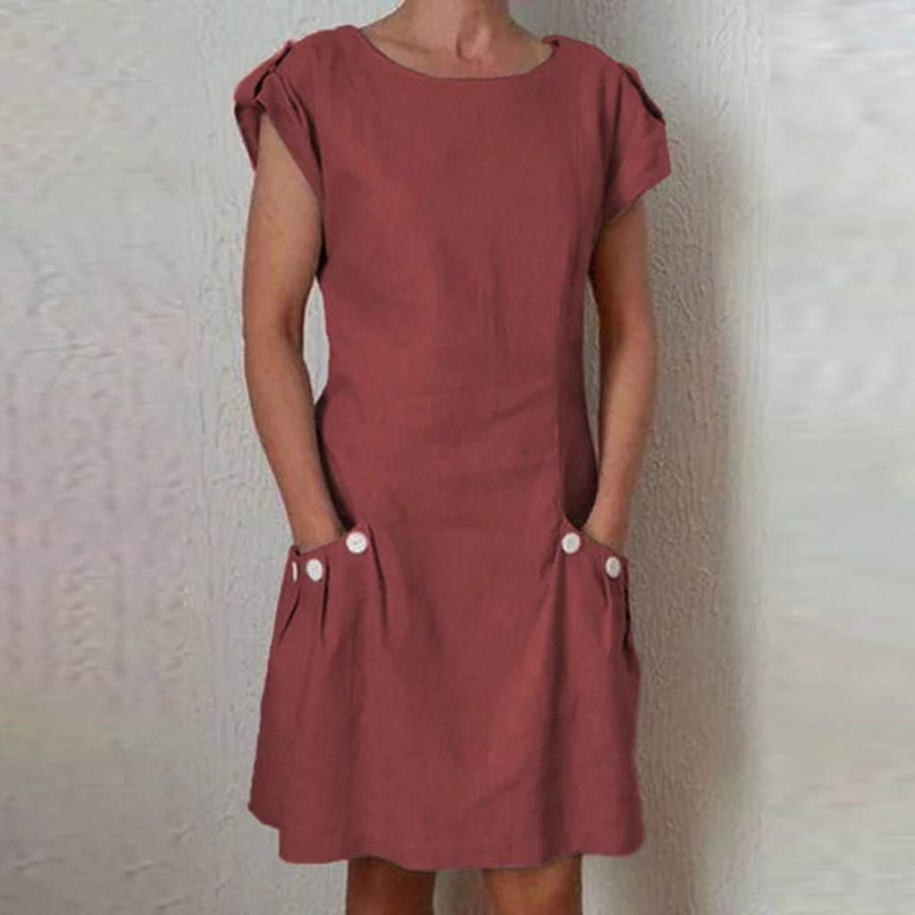 kemilove 2019 New Women Casual Solid Ruffled Pockets O-Neck Shift Daily Buttoned-Decor Dresses