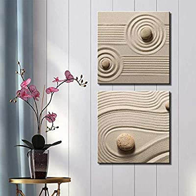 Two Piece Canvas - Rocks on Soft Sand with Striped and Raked Patterns on 2 Panels - Canvas Art Home Art - 12x12 inches