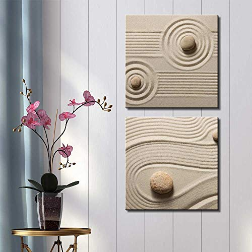 Two Piece Rocks on Soft Sand with Striped and Raked Patterns on 2 Panels
