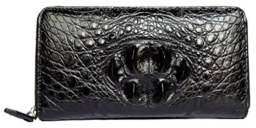 - CHERRY CHICK Men's Genuine Leather Crocodile Skin Long Wallet/Alligator Zip-Around Business Clutch Handbag(Head Leather-Black)